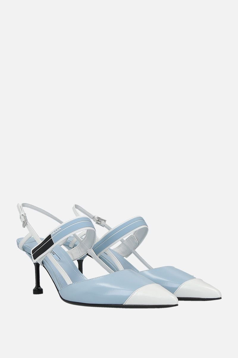 PRADA: brushed calf slingbacks Color Blue_3