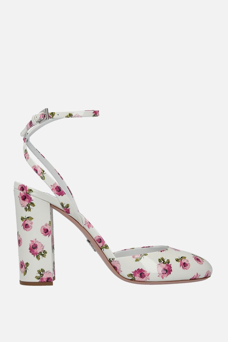 PRADA: rose print patent leather slingbacks Color White_1