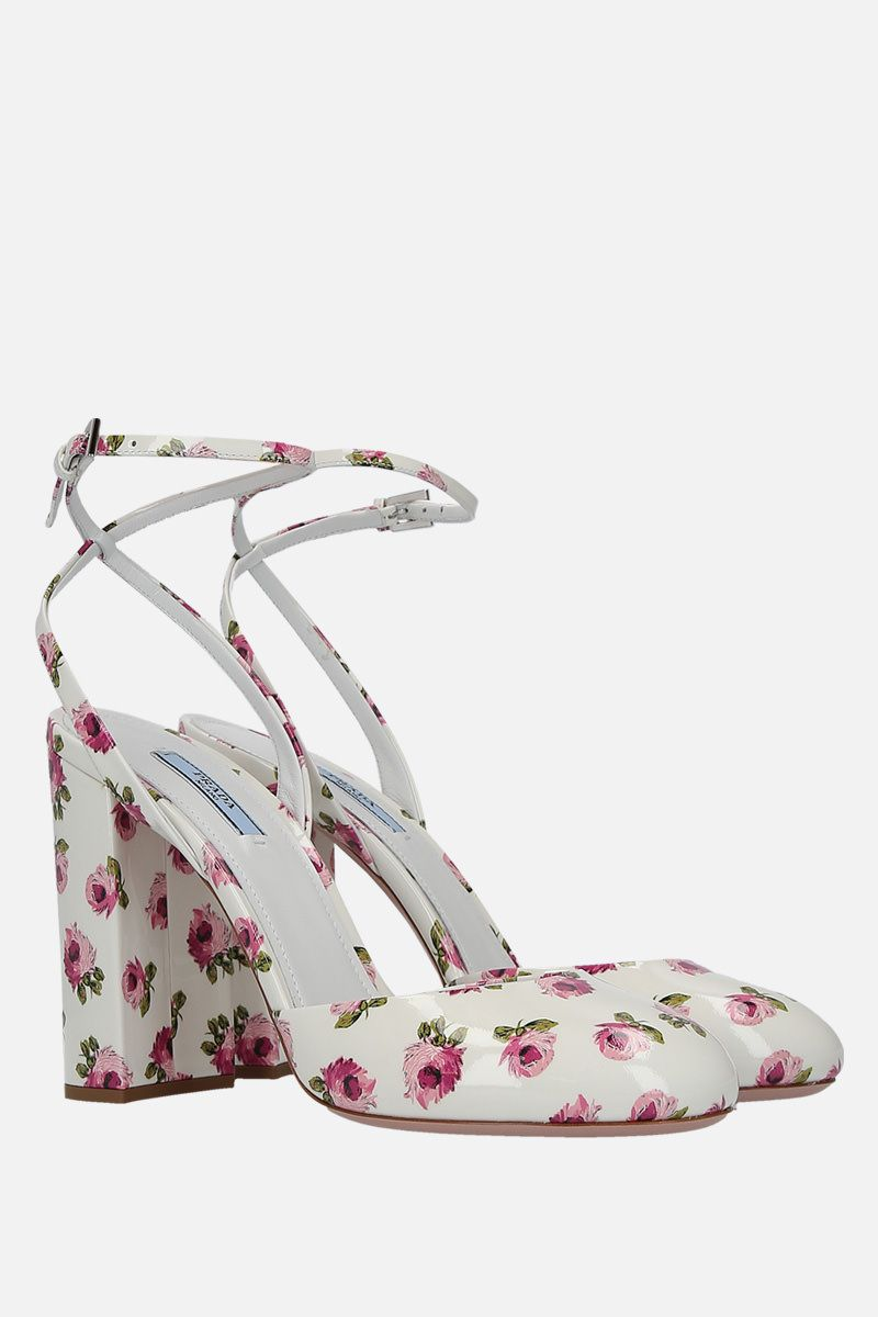 PRADA: rose print patent leather slingbacks Color White_2
