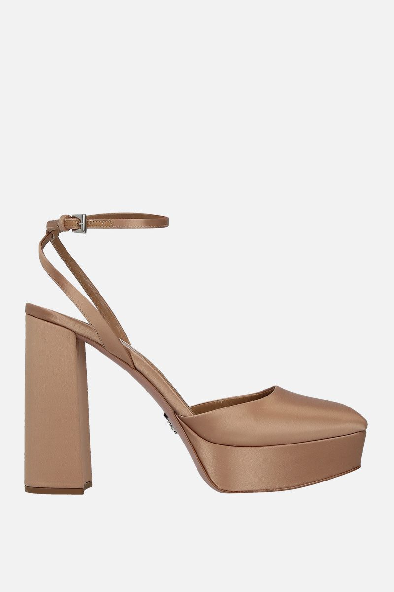 PRADA: satin platform slingbacks Color Neutral_1
