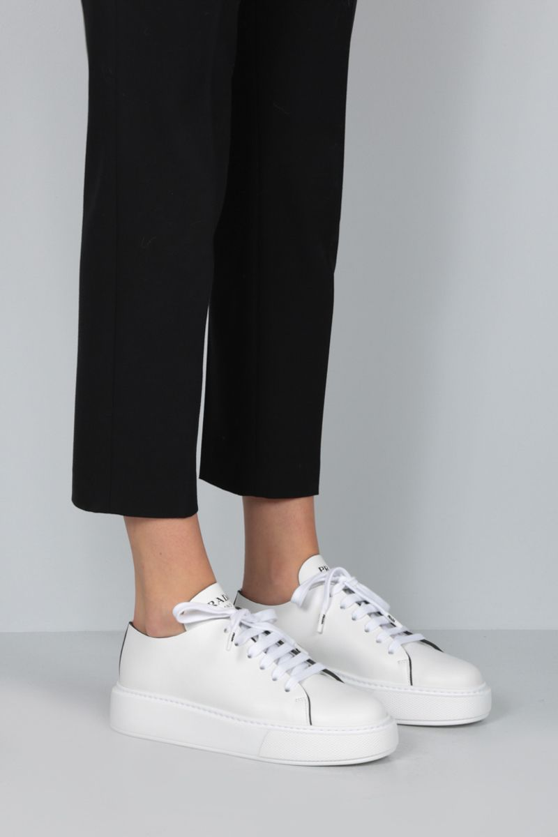 PRADA: brushed calf flatform sneakers Color White_2