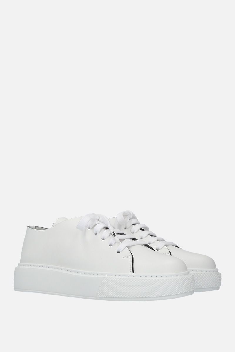 PRADA: brushed calf flatform sneakers Color White_3