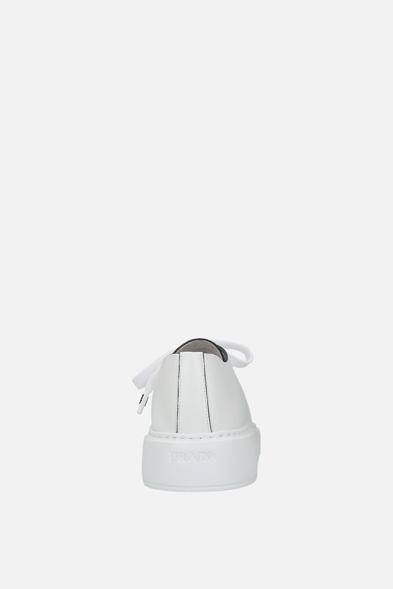 PRADA: brushed calf flatform sneakers Color White_4