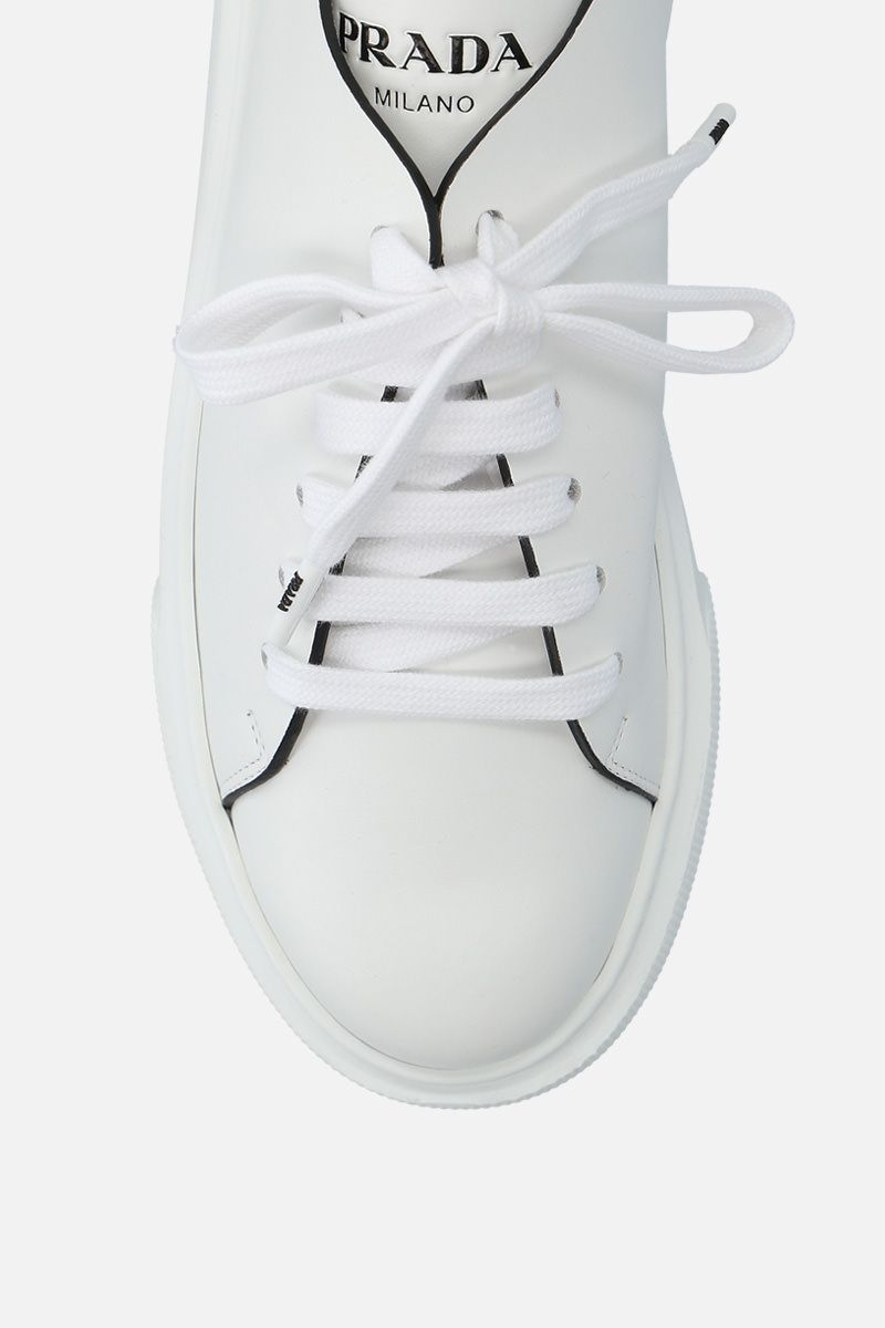 PRADA: brushed calf flatform sneakers Color White_5