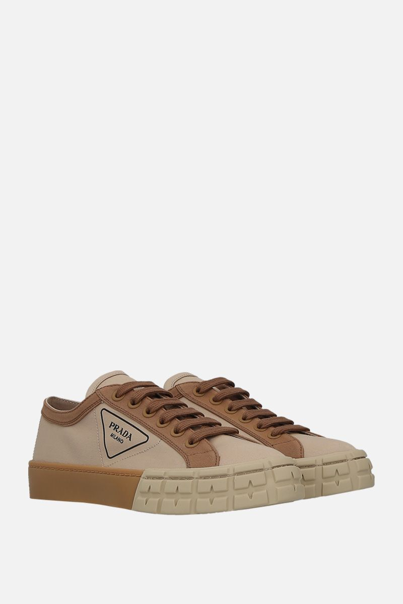 PRADA: sneaker low-top in gabardine bicolore_2