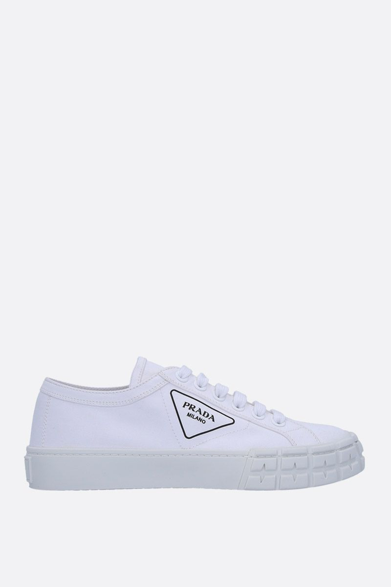 PRADA: gabardine low-top sneakers Color White_1