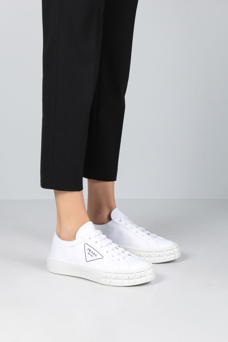PRADA: gabardine low-top sneakers Color White_2