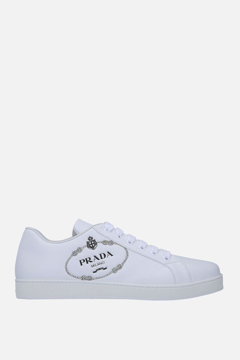 PRADA: logo-embossed smooth leather sneakers Color White_1
