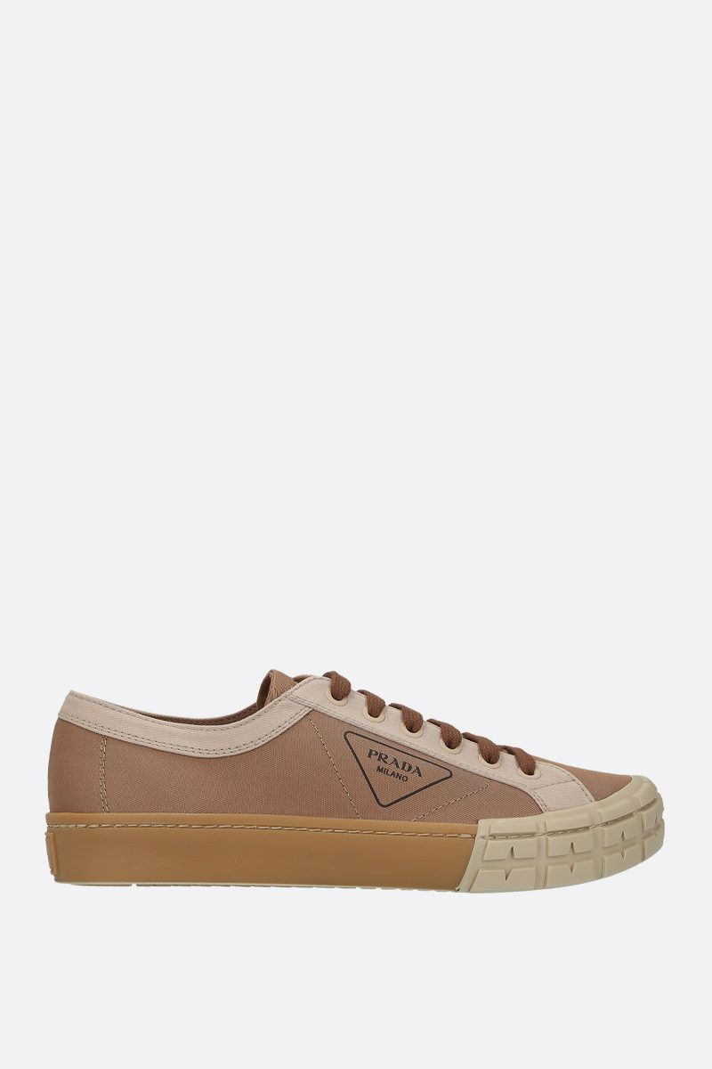 PRADA: bicolour gabardine low-top sneakers Color Brown_1