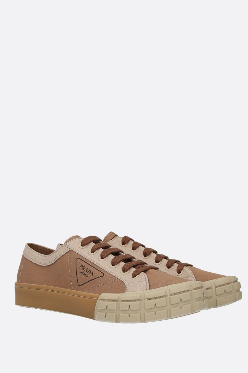 PRADA: bicolour gabardine low-top sneakers Color Brown_2