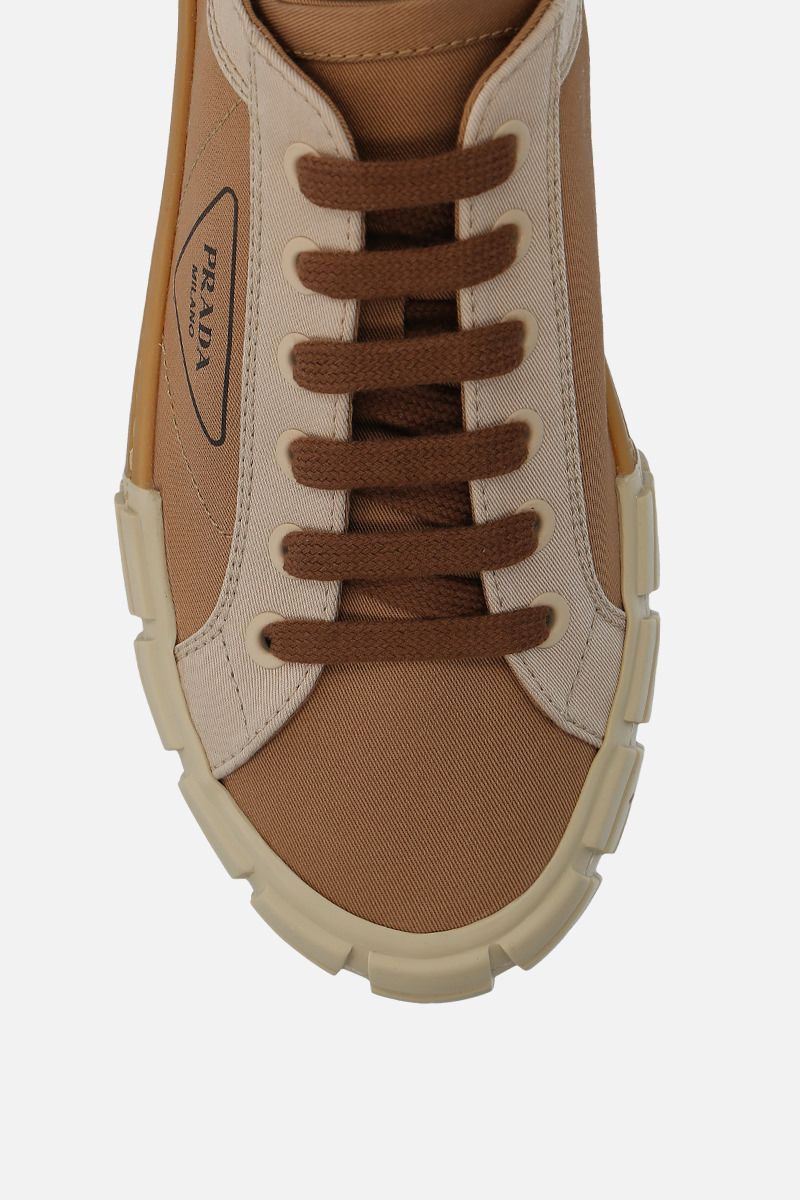 PRADA: bicolour gabardine low-top sneakers Color Brown_4