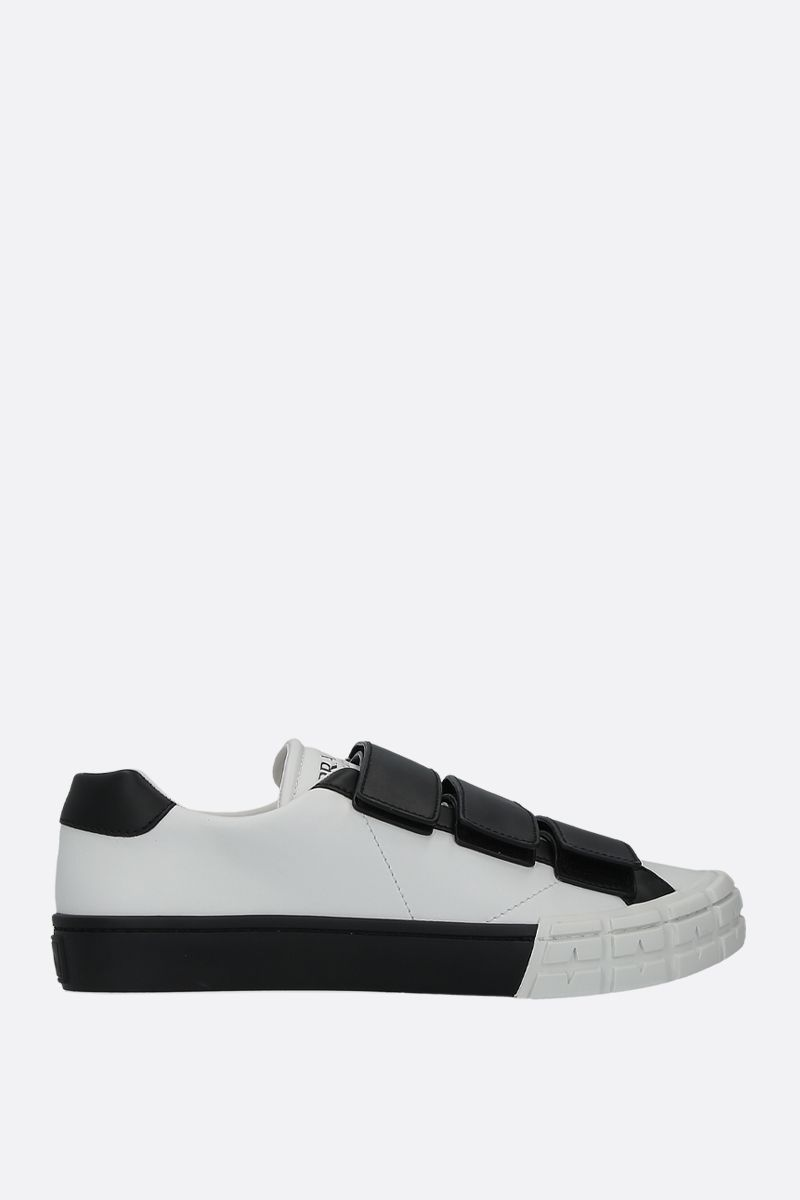 PRADA: bicolour smooth leather low-top sneakers Color White_1