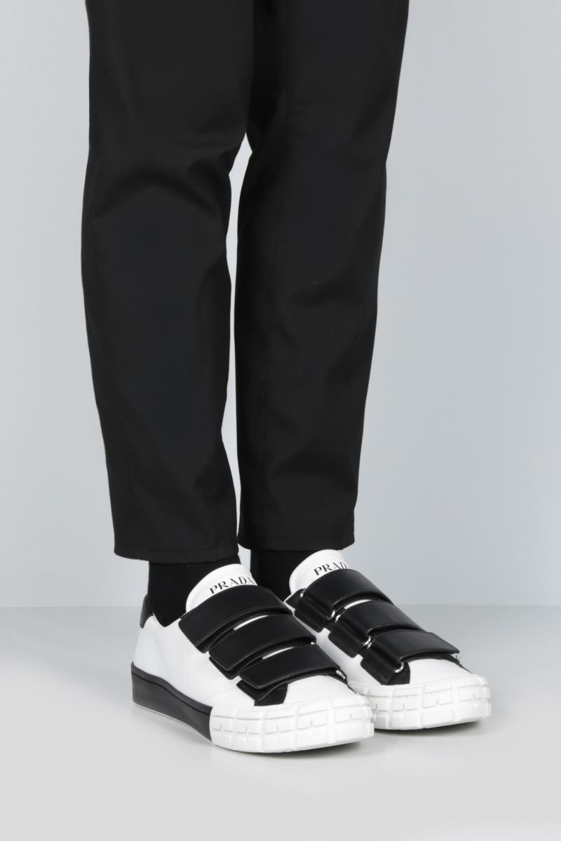 PRADA: bicolour smooth leather low-top sneakers Color White_2