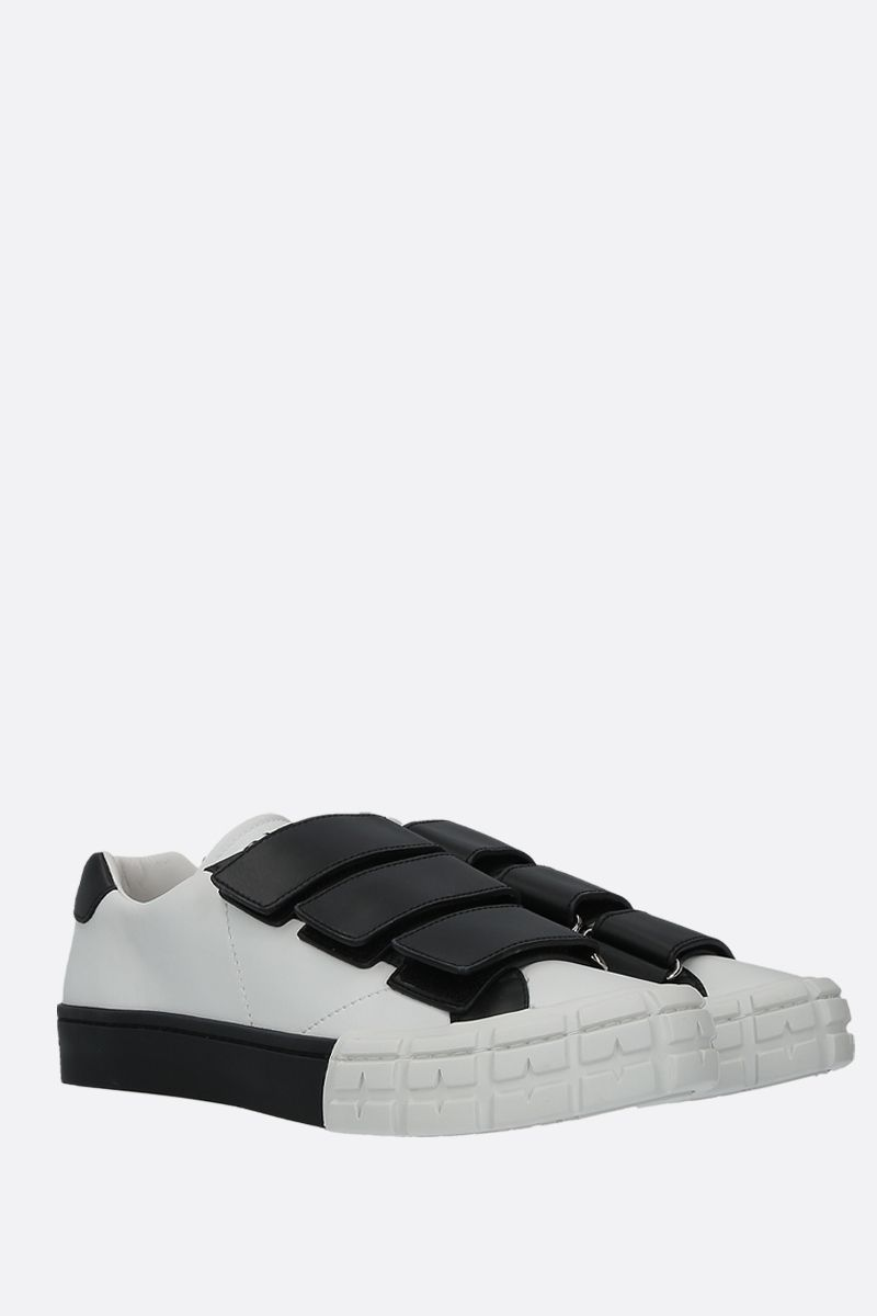 PRADA: bicolour smooth leather low-top sneakers Color White_3