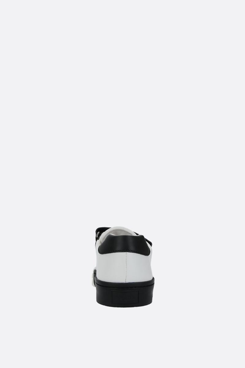 PRADA: bicolour smooth leather low-top sneakers Color White_4