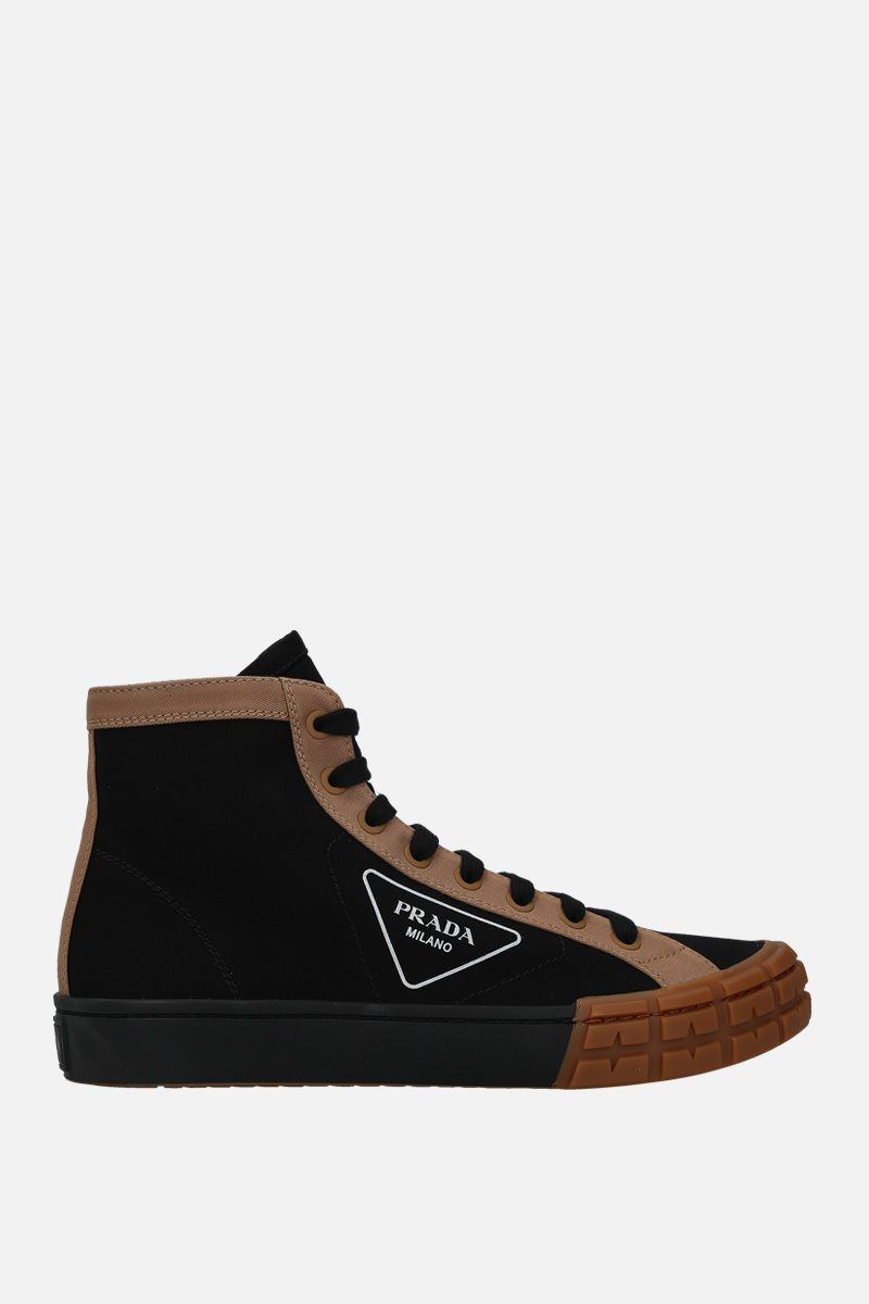 PRADA: sneaker high-top in gabardine bicolore_1