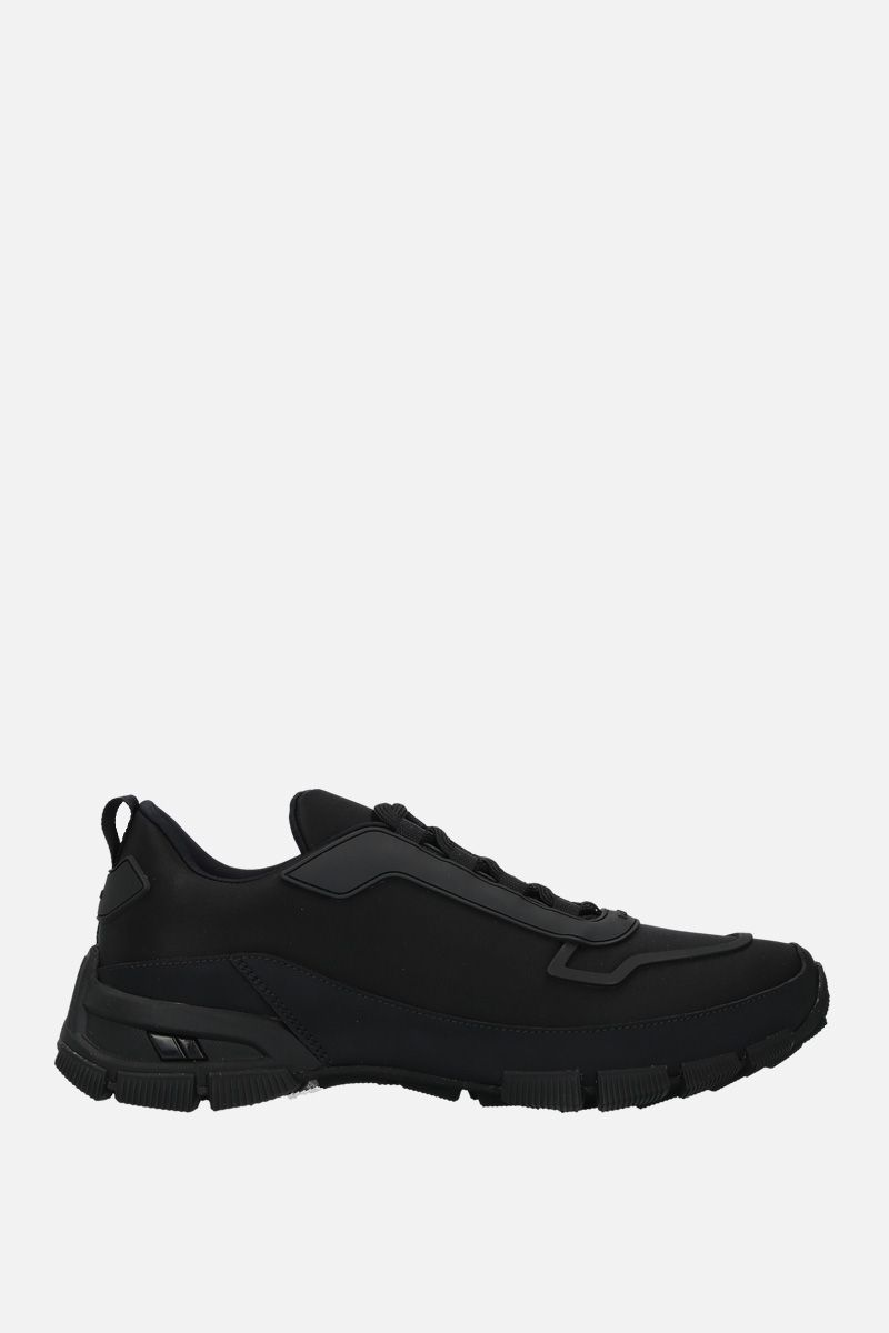 PRADA: nylon and rubberized leather sneakers Color Black_1