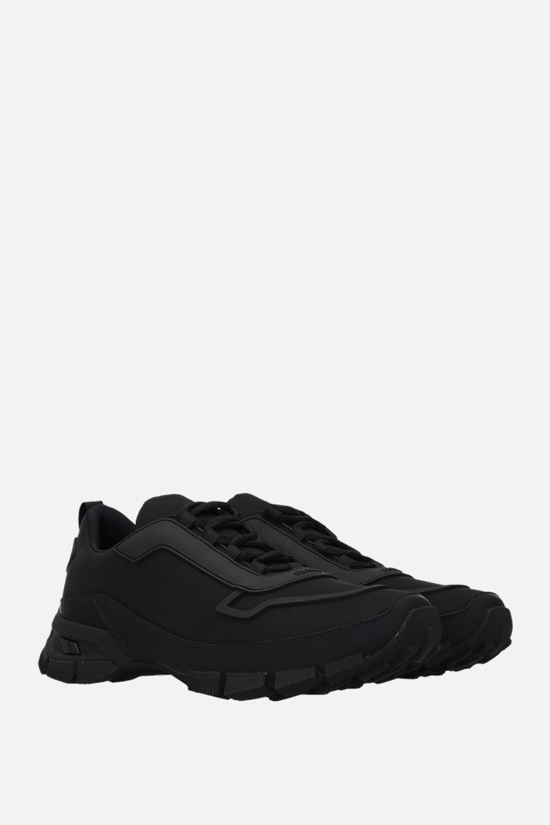 PRADA: nylon and rubberized leather sneakers Color Black_2