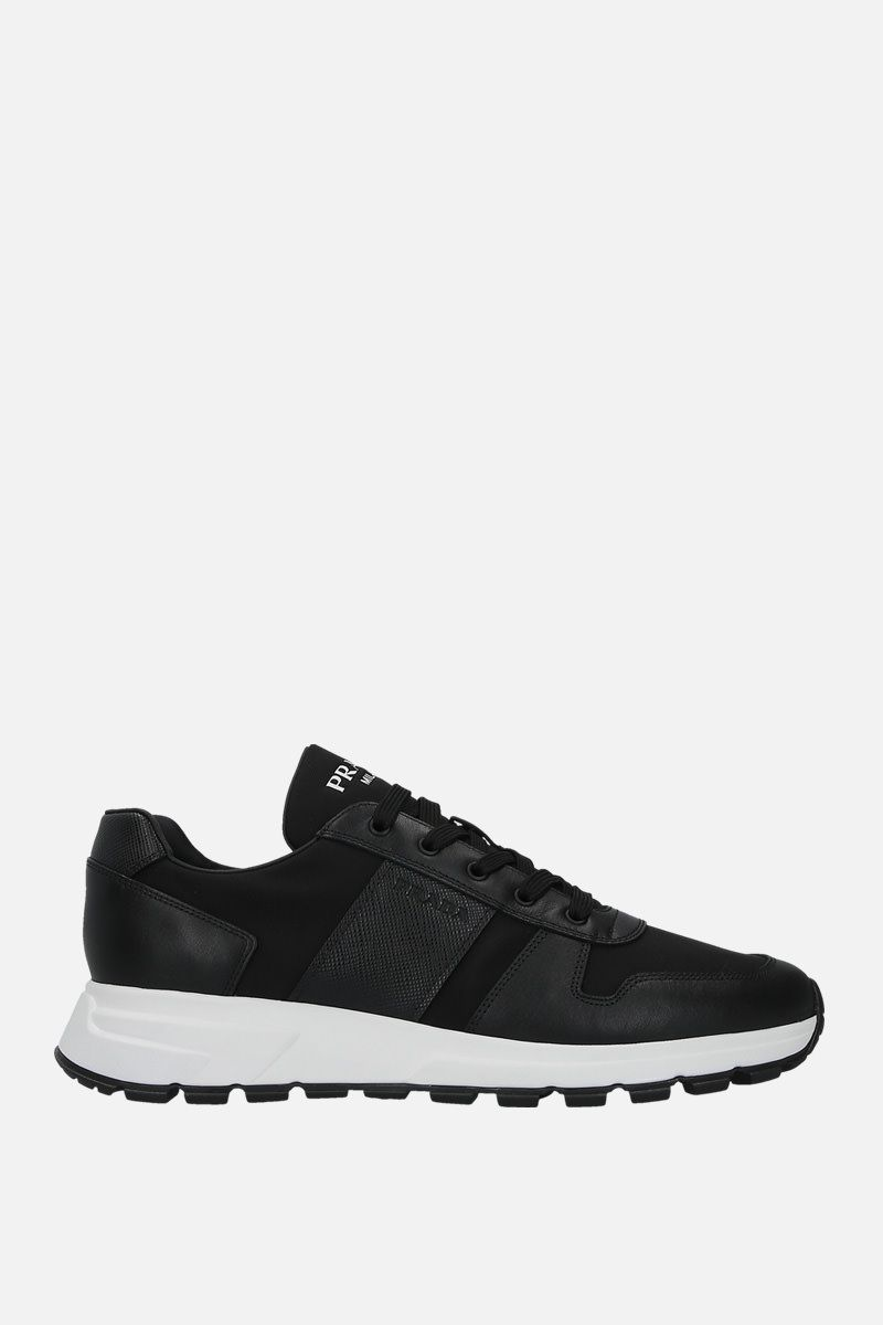 PRADA: sneaker low-top in pelle Nevada e nylon Colore Nero_1