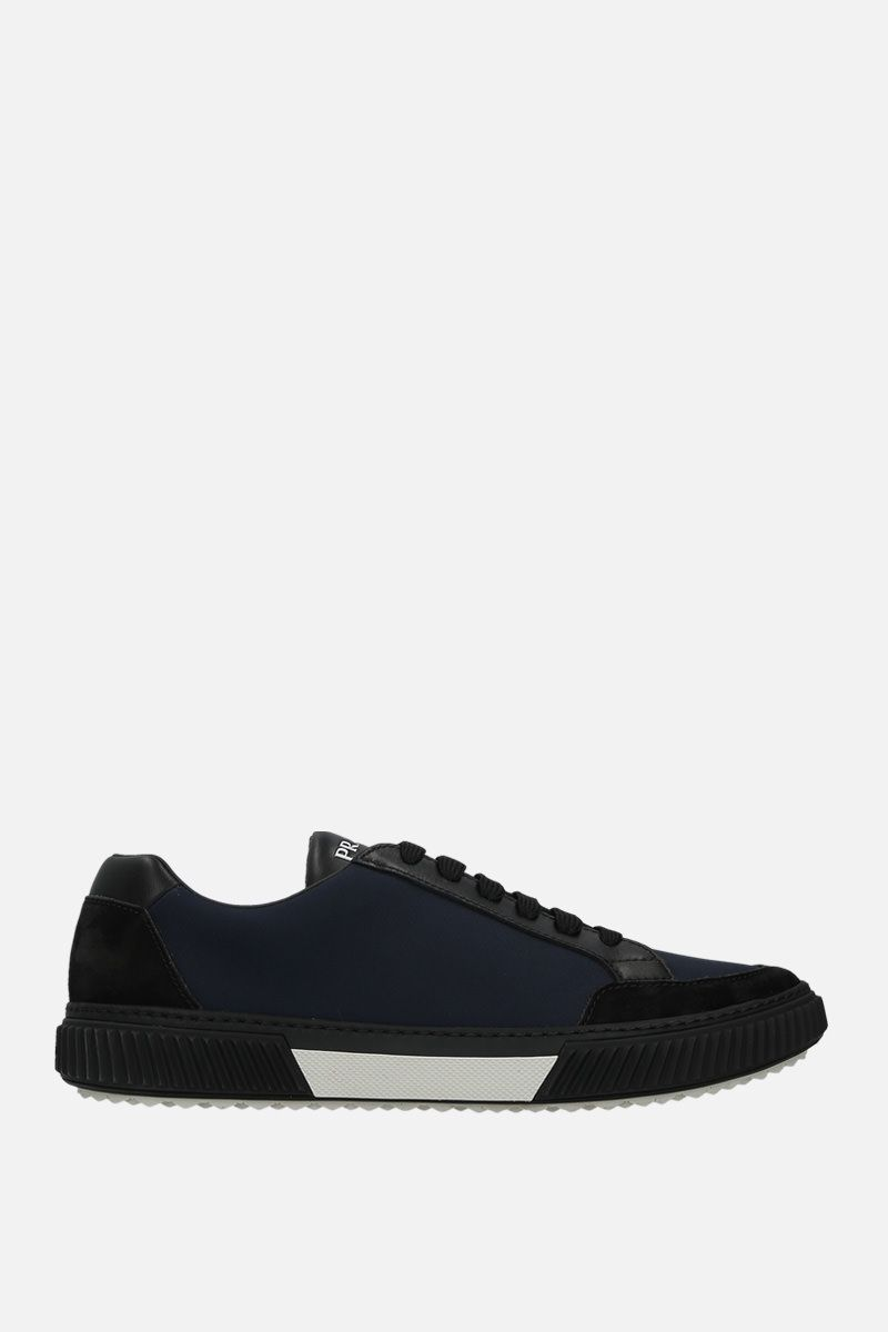 PRADA: nylon and suede low-top sneakers Color Black_1