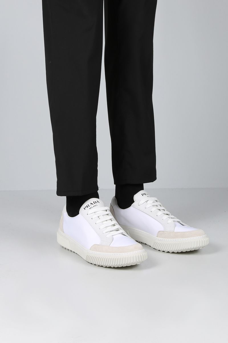 PRADA: sneaker low-top in nylon e suede Colore Neutro_2