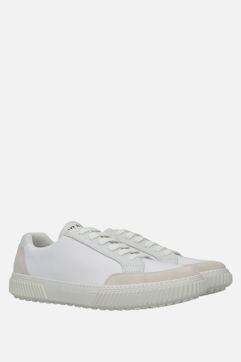 PRADA: nylon and suede low-top sneakers Color Neutral_3