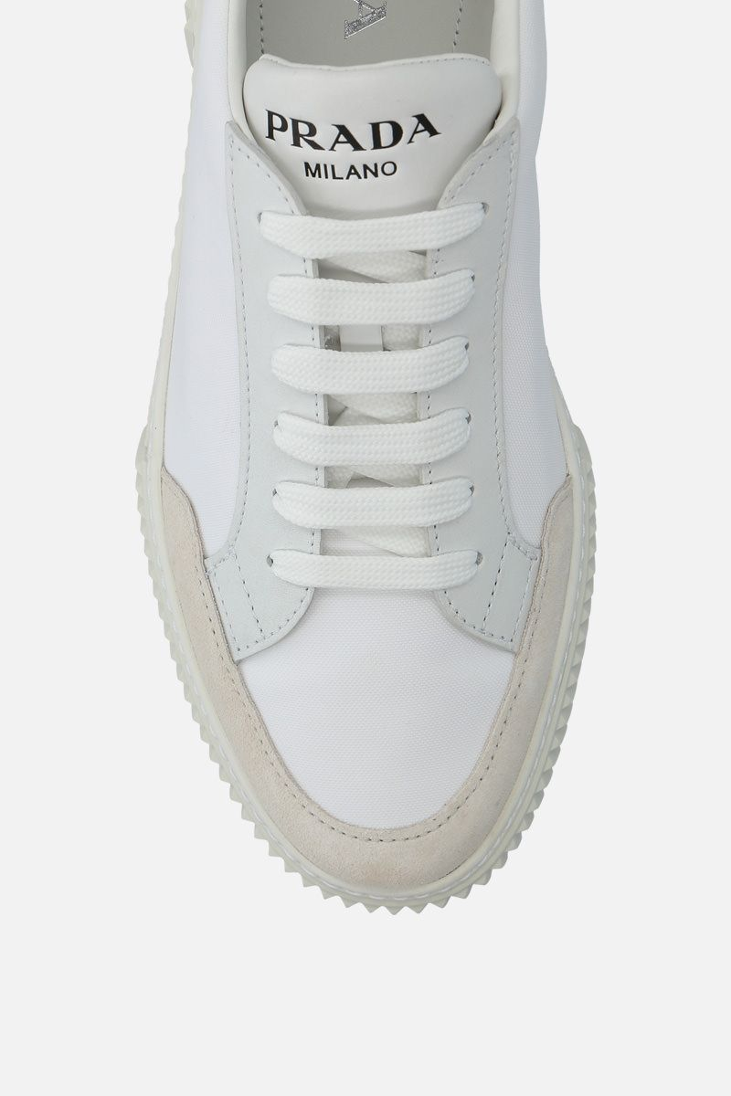 PRADA: nylon and suede low-top sneakers Color Neutral_5