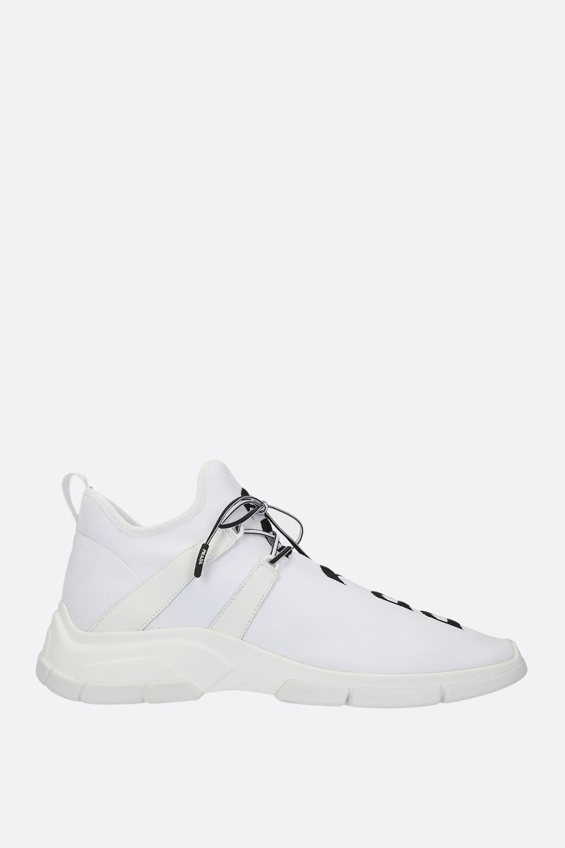 PRADA: XY stretch knit mid-top sneakers Color White_1