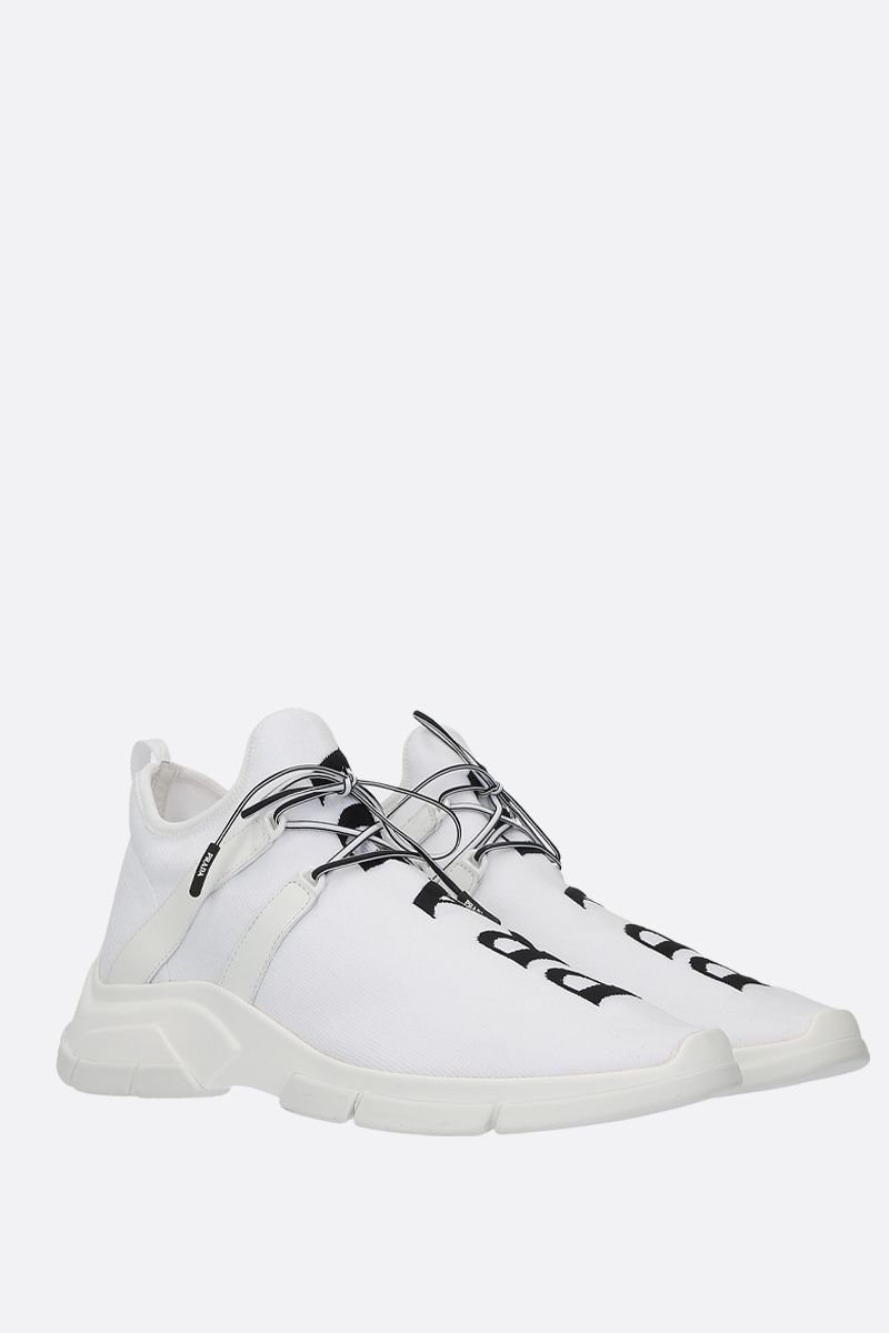 PRADA: XY stretch knit mid-top sneakers Color White_2