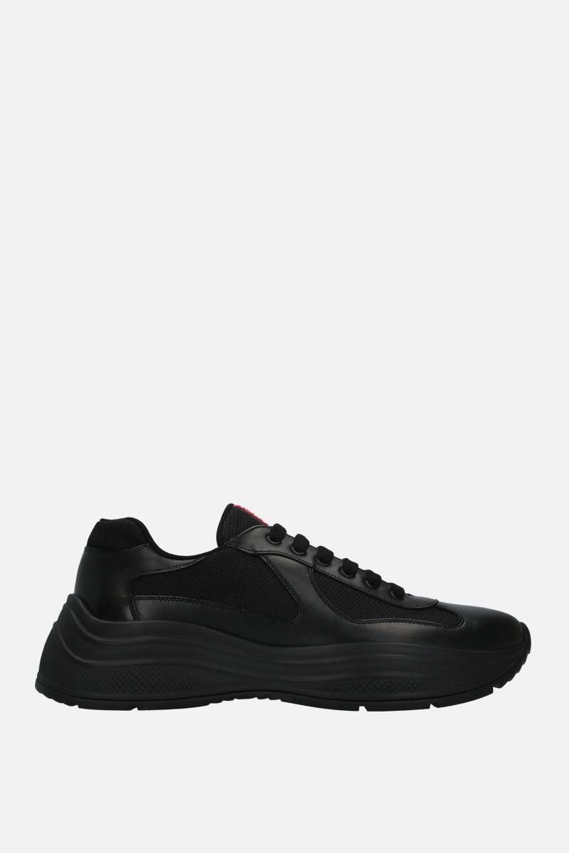 PRADA: smooth leather and mesh flatform sneakers Color Black_1