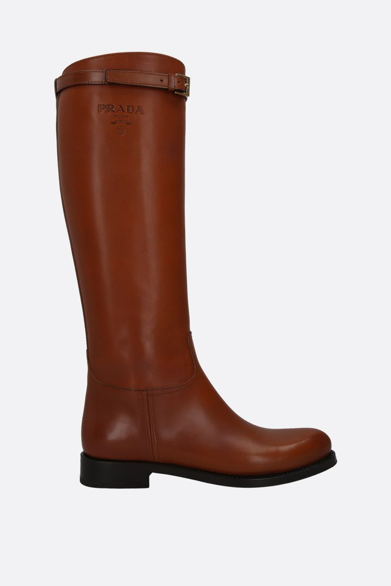 PRADA: logo-embossed smooth leather boots Color Brown_1