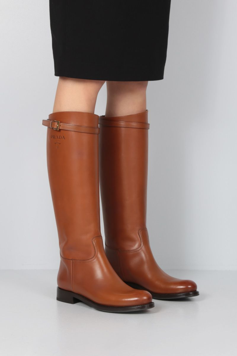 PRADA: logo-embossed smooth leather boots Color Brown_2