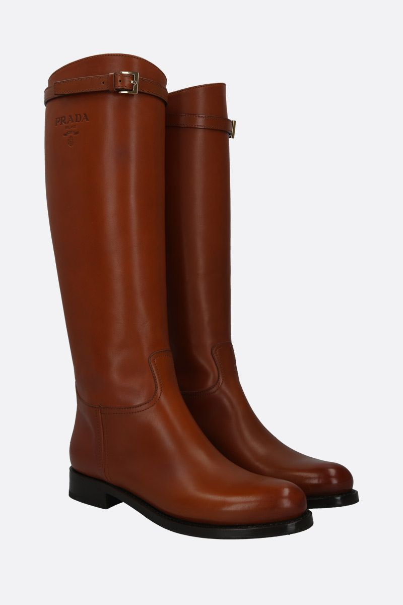 PRADA: logo-embossed smooth leather boots Color Brown_3