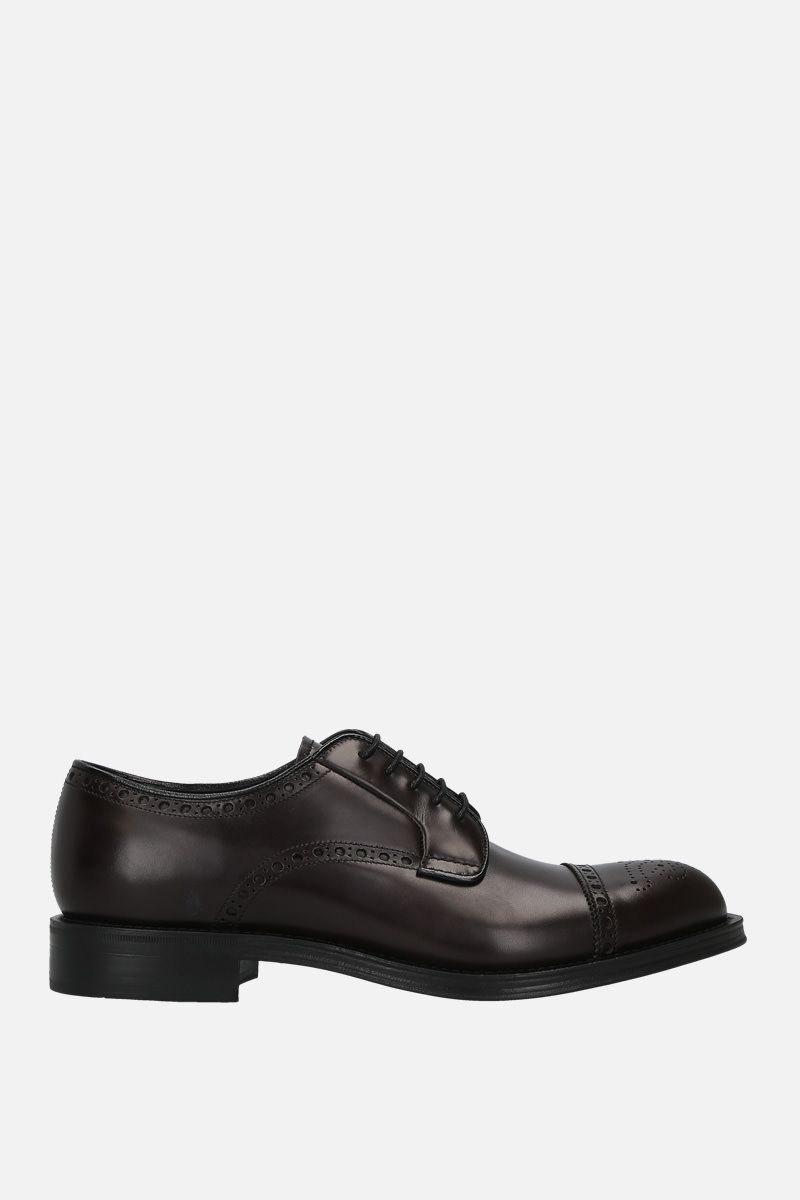 PRADA: brushed leather derby shoes Color Brown_1
