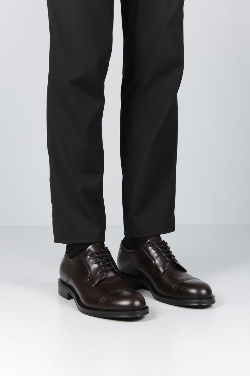 PRADA: brushed leather derby shoes Color Brown_2