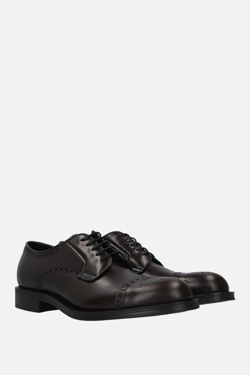PRADA: brushed leather derby shoes Color Brown_3