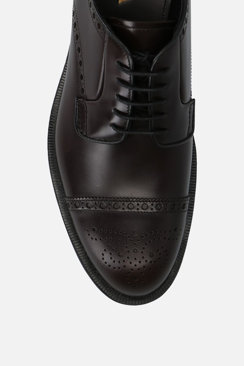 PRADA: brushed leather derby shoes Color Brown_5