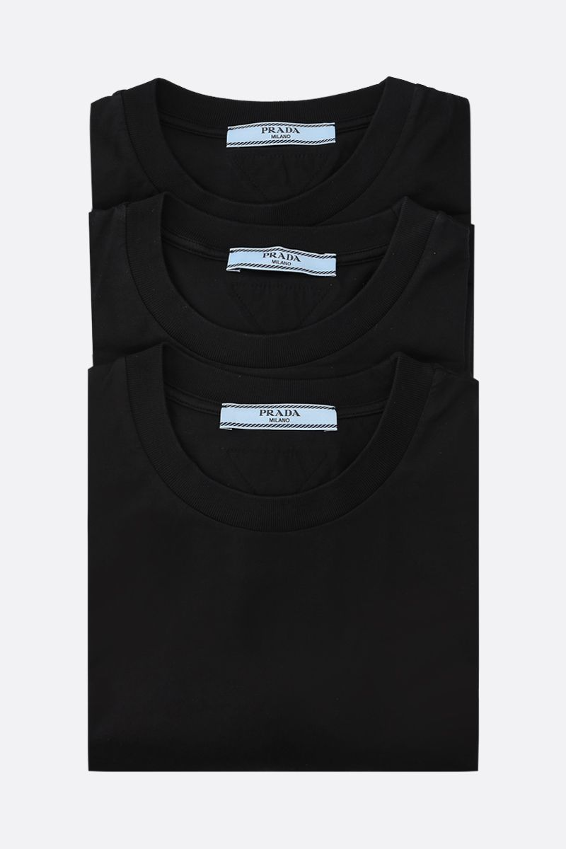 PRADA: 3 t-shirt pack in cotton jersey Color Black_1