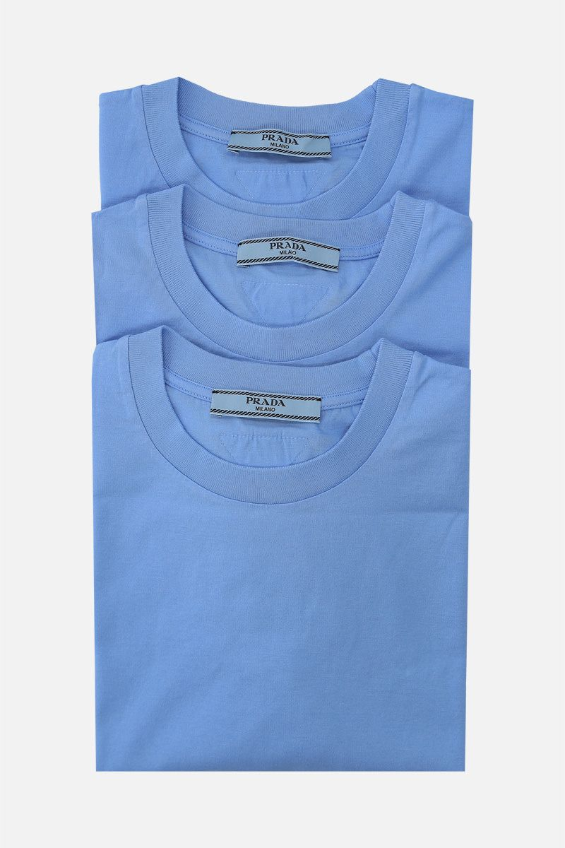 PRADA: 3 t-shirt pack in cotton jersey Color Blue_1