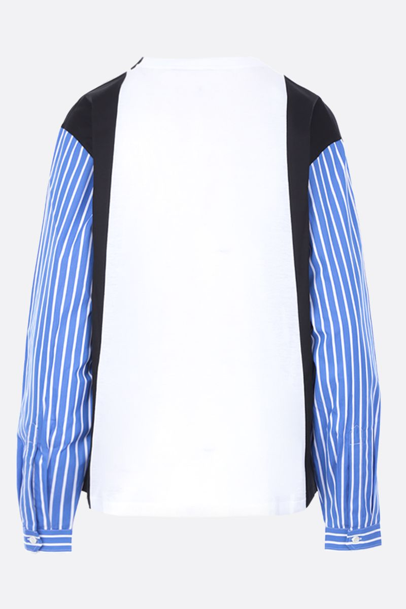 PRADA: jersey t-shirt with shirt-style sleeves Color Multicolor_2