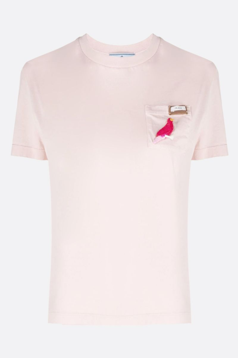 PRADA: t-shirt in cotone patch uccellino_1