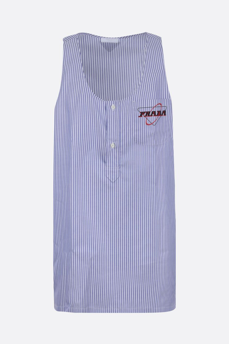PRADA: striped cotton long-fit tank top Color Blue_1