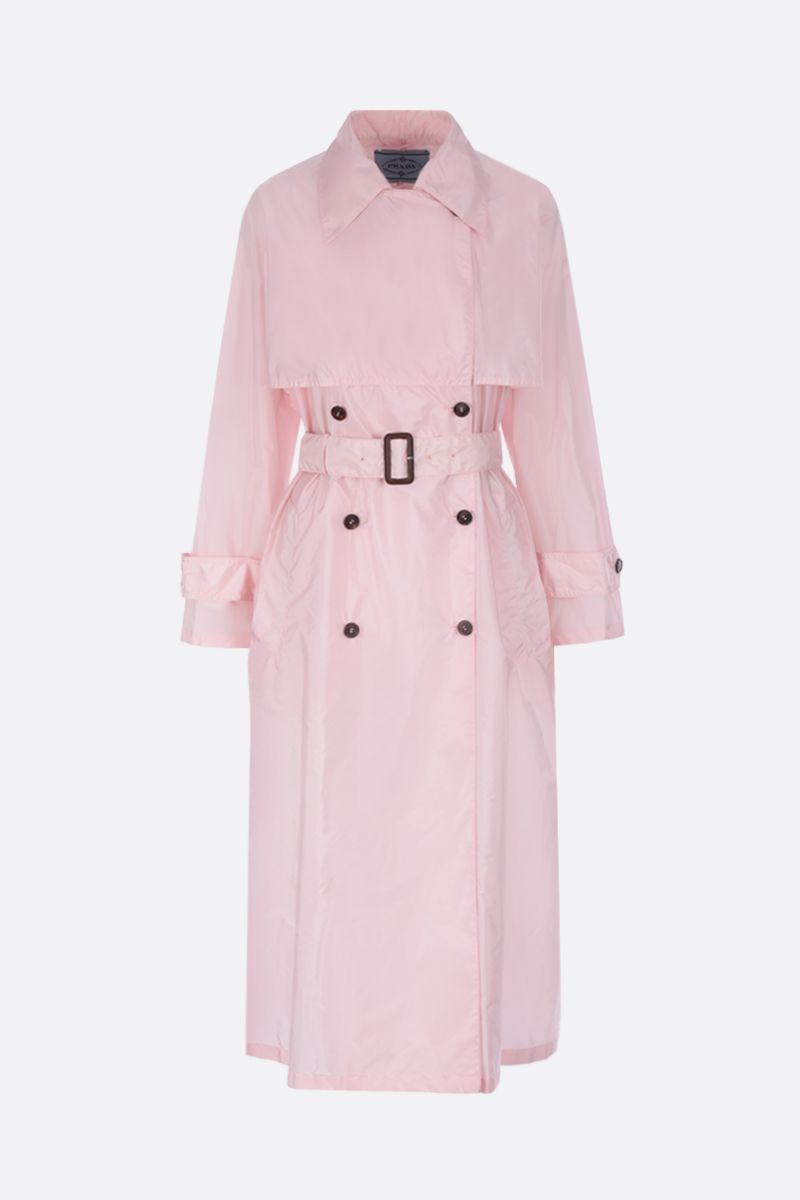 PRADA: nylon double-breasted trench coat Color Pink_1