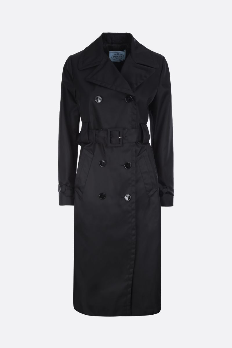 PRADA: nylon double-breasted trench coat Color Black_1