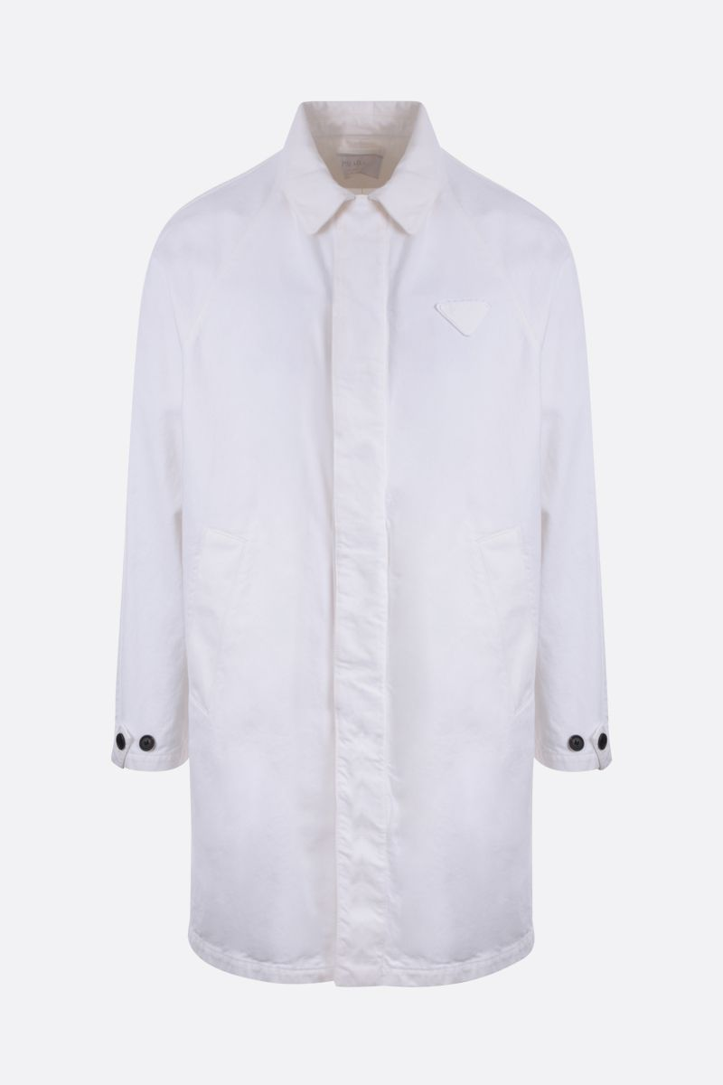 PRADA: denim single-breasted overcoat Color White_1