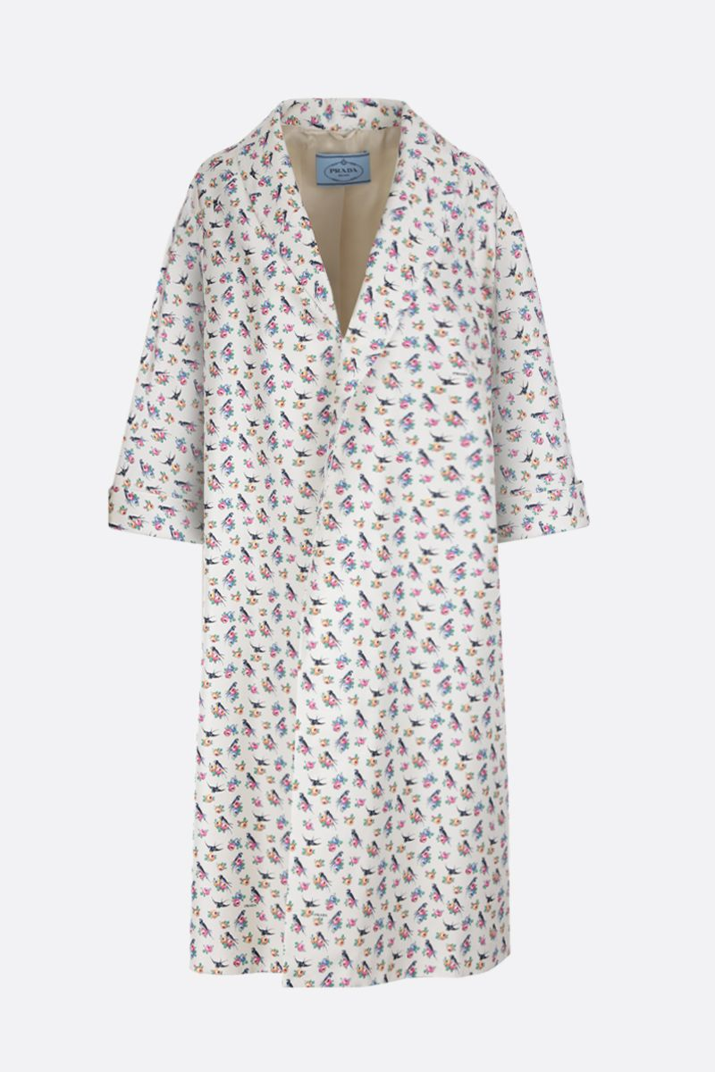 PRADA: Swallow printed faille oversized overcoat Color White_1