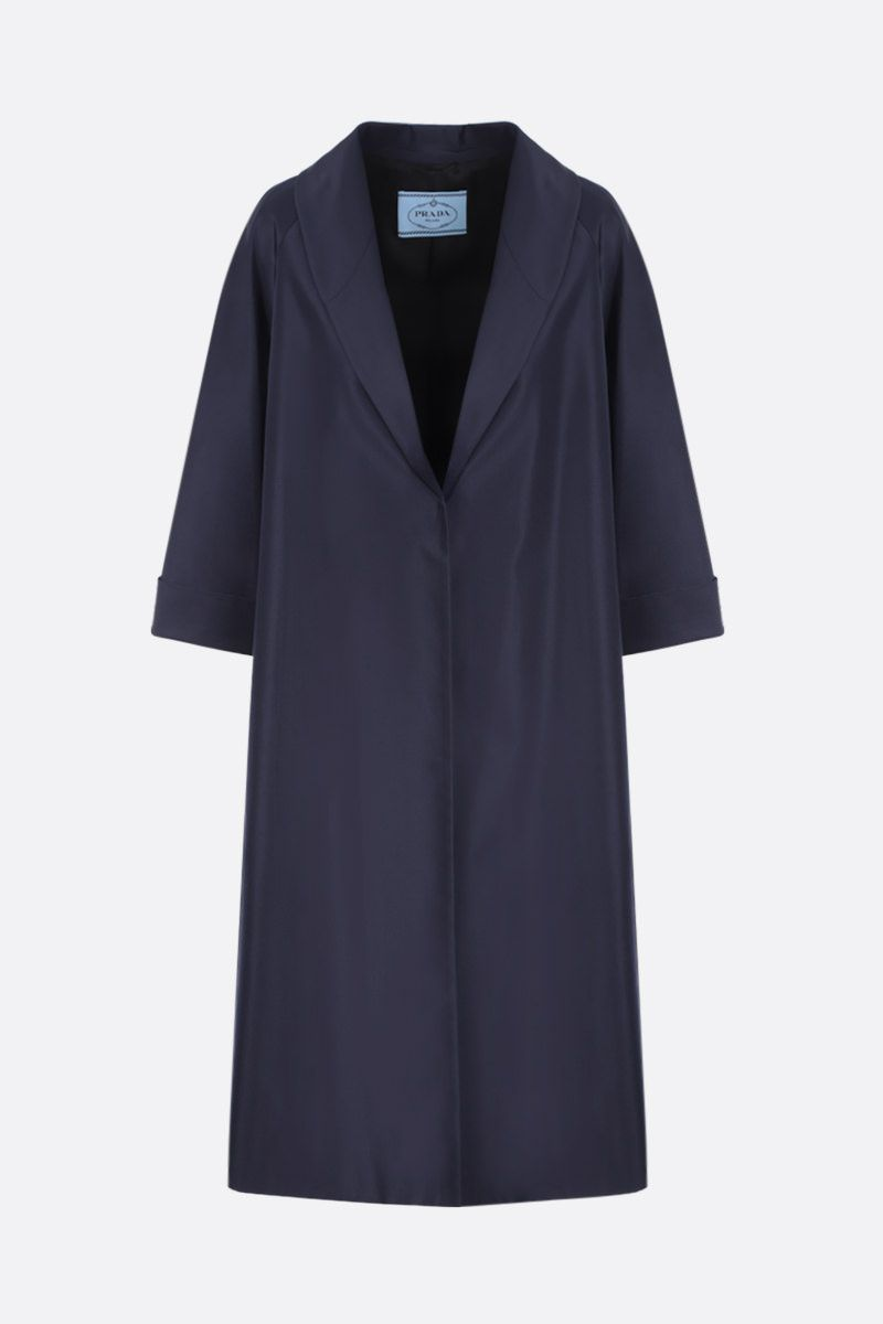 PRADA: silk faille overcoat Color Blue_1