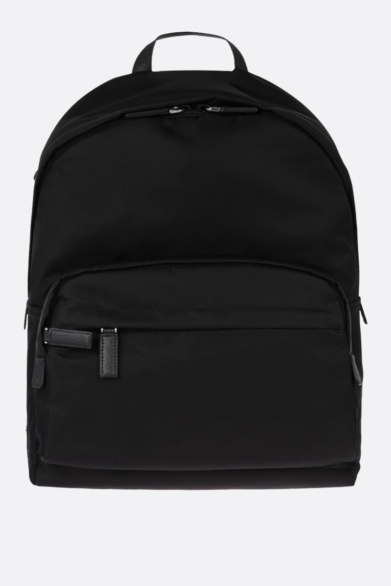 PRADA: Saffiano leather-detailed nylon backpack Color Black_1
