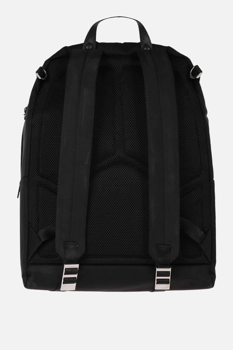 PRADA: Saffiano leather-detailed nylon backpack Color Black_3