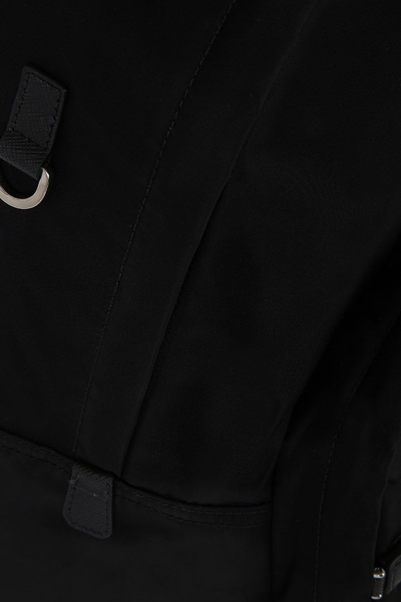 PRADA: Saffiano leather-detailed nylon backpack Color Black_4